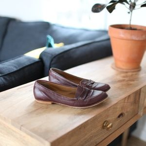 Topshop kimi maroon leather loafers slip on shoes